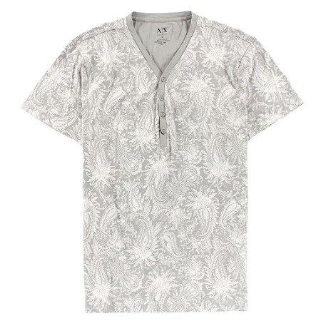 Camiseta Armani Exchange Masculina Printed Henley - Alloy Grey