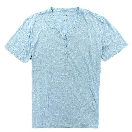 Camiseta Armani Exchange Masculina Solid Henley - Light Blue