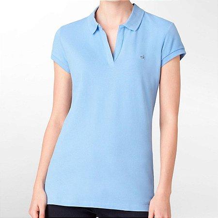 Polo Calvin Klein Feminina Cap Sleeve Piquet - Royal Blue