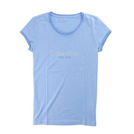 Camiseta Calvin Klein Feminina Crew Neck Logo - Lilac