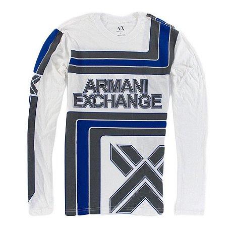 Manga Longa Armani Exchange Masculina Tradicional AX - White