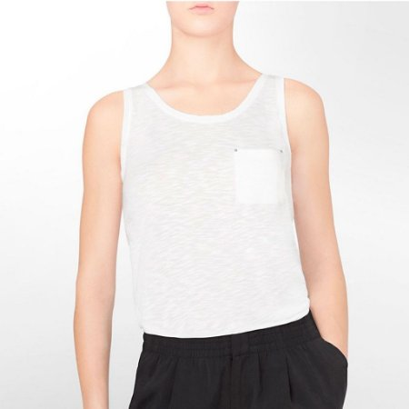 Blusinha Calvin Klein Feminina Heathered Accent Tank - White