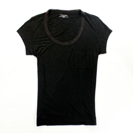 Camiseta Calvin Klein Feminina Lurex Trim Scoopneck City - Black
