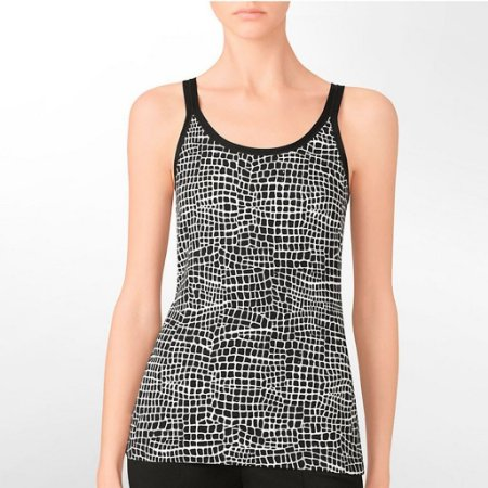Blusinha Calvin Klein Feminina Printed Satin Tank Top - Black
