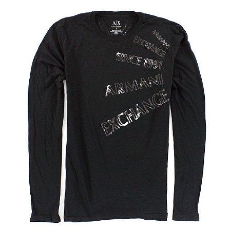 Camiseta Armani Exchange Masculina Write AX Long Sleeve Tee - Black