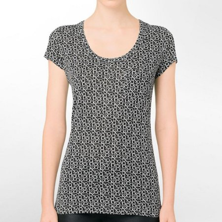 Camiseta Calvin Klein Feminina Scoopneck Logo City Pocket - Black