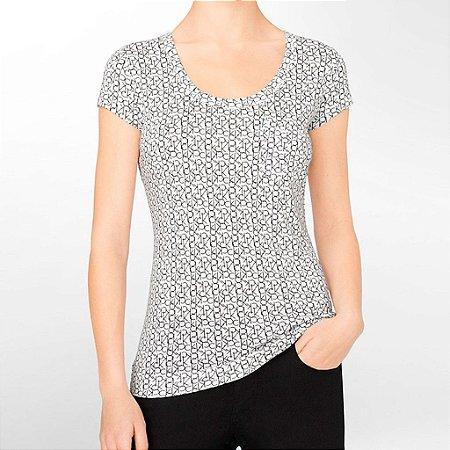 Camiseta Calvin Klein Feminina Scoopneck Logo City Pocket - White