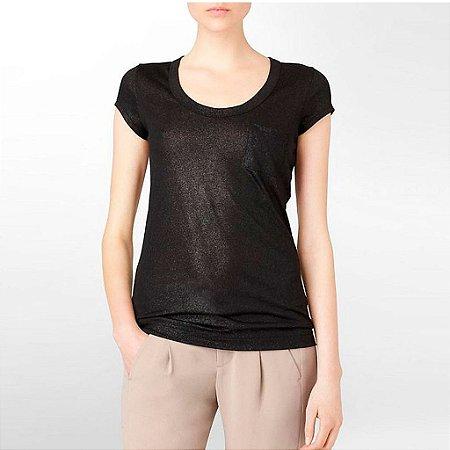 Camiseta Calvin Klein Feminina Shimmery Scoopneck Pocket - Black