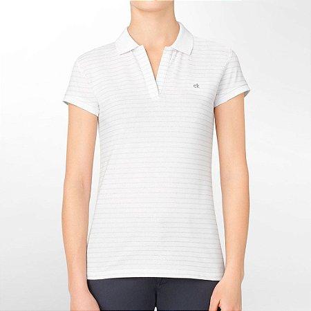 Polo Calvin Klein Feminina Striped Piquet - White