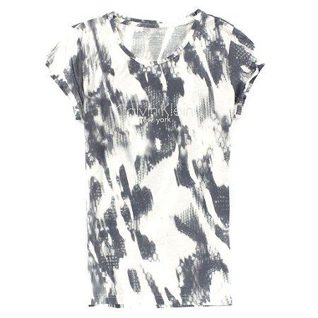 Camiseta Calvin Klein Feminina Washed Snake - Cream