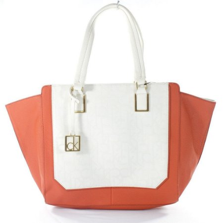 Bolsa Calvin Klein Eliza Tote Bag - White and Orange