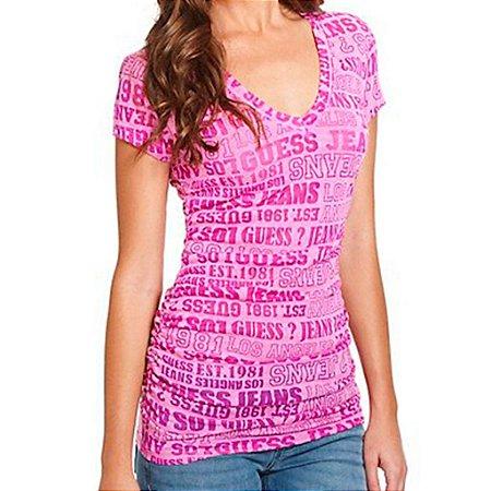 Camiseta Guess Feminina Jojo Logo Burnout Tee - Bright Fuchsia