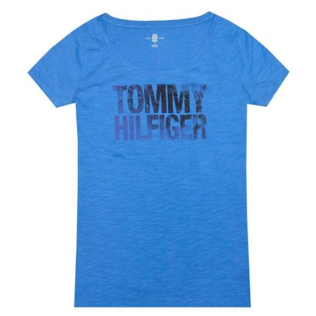 Camiseta Tommy Hilfiger Feminina Fashion Crew Neck - Blue