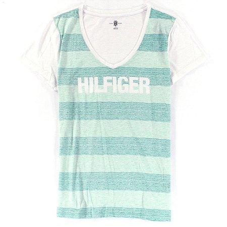 Camiseta Tommy Hilfiger Feminina Fashion V-Neck Big Logo - Green Stripe