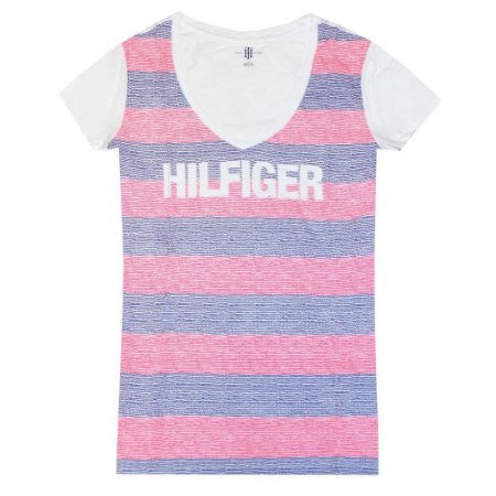Camiseta Tommy Hilfiger Feminina Fashion V-Neck Big Logo - Red Stripe
