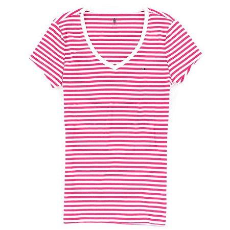 Camiseta Tommy Hilfiger Feminina Horizontal Stripe V-Neck - Pink Stripe