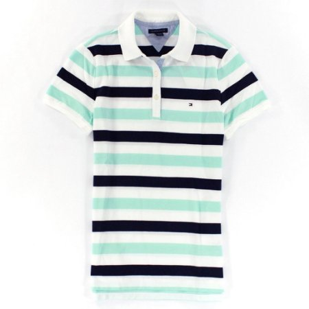 Polo Tommy Hilfiger Feminina Rugby Thin Stripe - Light Green and Navy