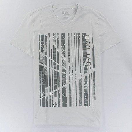 Camiseta Calvin Klein Masculina Bar Tee - White