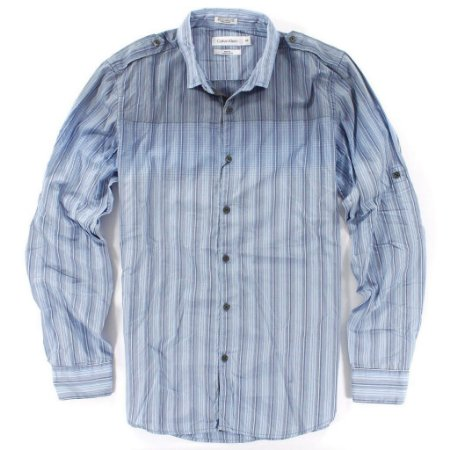 Camisa Calvin Klein Masculina Body Fit Striped Shirt - Light Blue