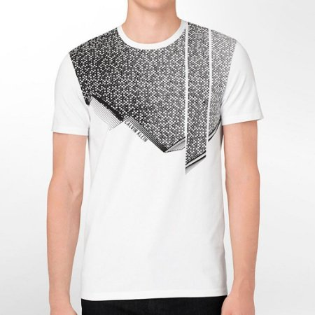 Camiseta Calvin Klein Masculina Body Slim Fit Gradient Grid Tee - White