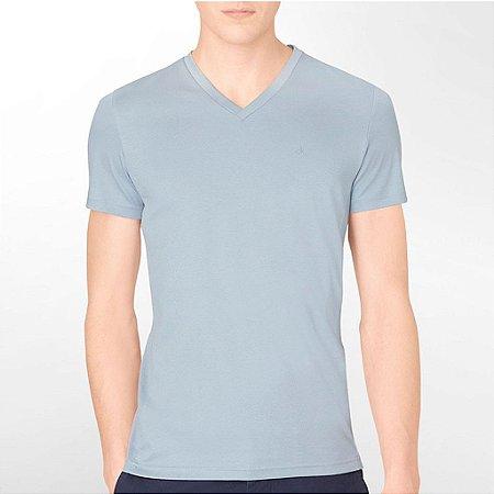 Camiseta Calvin Klein Masculina Body Slim Fit Ribbed Detail Tee - Silver Blue