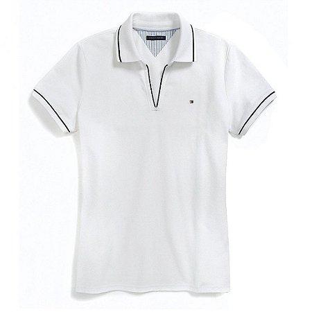 Polo Tommy Hilfiger Feminina Small Logo Piquet  - White
