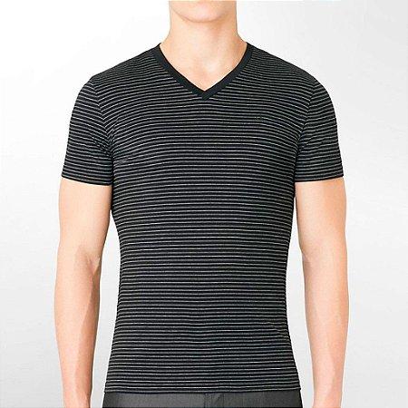Camiseta Calvin Klein Masculina CK Striped V-Neck Tee - Black