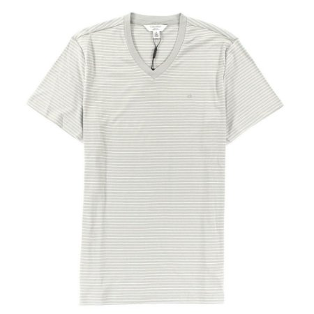 Camiseta Calvin Klein Masculina CK Striped V-Neck Tee - Light Grey