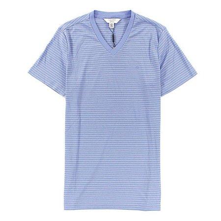 Camiseta Calvin Klein Masculina CK Striped V-Neck Tee - Light Purple