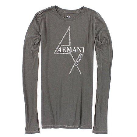 Manga Longa Armani Exchange Feminina 4 AX Tee - Grey