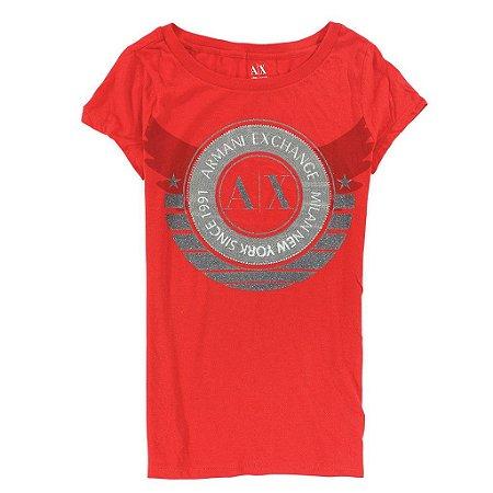 Camiseta Armani Exchange Feminina Arm Circle Logo Tee - Red