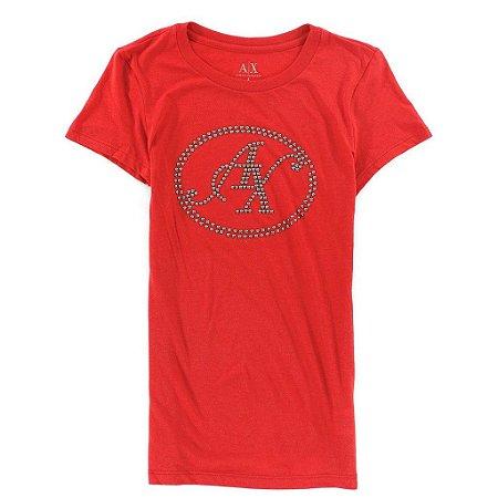 Camiseta Armani Exchange Feminina Circle Logo Tee - Red