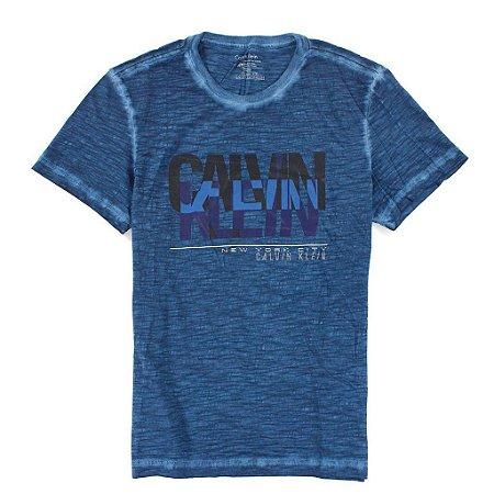 Camiseta Calvin Klein Masculina Classic Fit Heathered Tee - Dark Blue