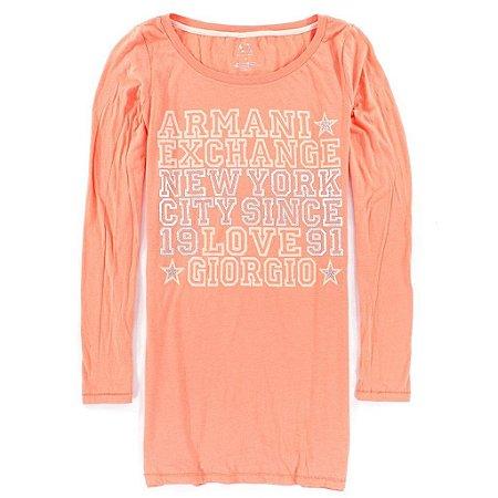 Manga Longa Armani Exchange Feminina Logo AX Write Tee - Peach