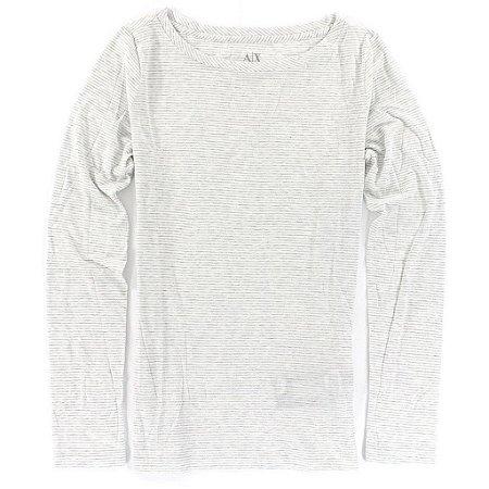Manga Longa Armani Exchange Feminina Long Sleeve Scoopneck Striped Tee - White
