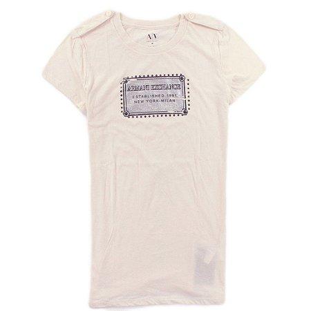 Camiseta Armani Exchange Feminina Metal Plate Tee - Beige