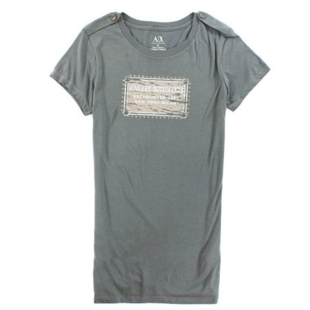 Camiseta Armani Exchange Feminina Metal Plate Tee - Grey
