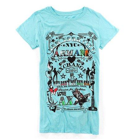 Camiseta Armani Exchange Feminina Passion for Fashion Tee - Turquoise