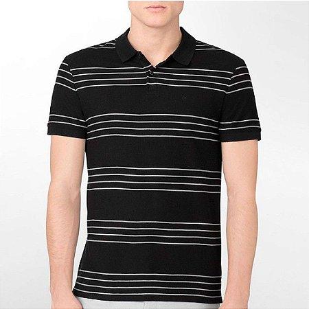 Polo Calvin Klein Masculina Four Stripes Single Polo - Black