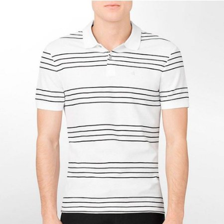 Polo Calvin Klein Masculina Four Stripes Single Polo - White
