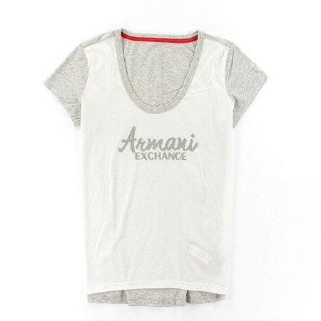 Camiseta Armani Exchange Feminina Scoopneck Tee - White