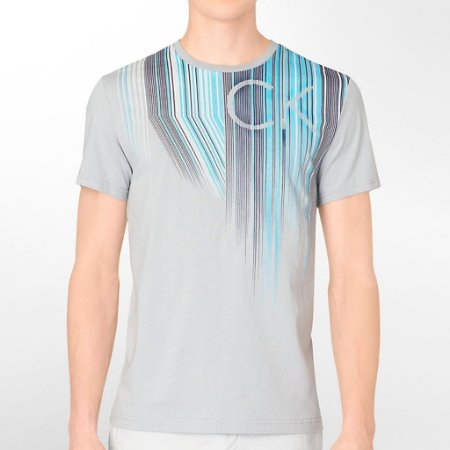 Camiseta Calvin Klein Masculina Graphic Ink Logo Tee - Grey