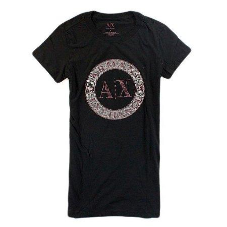 Camiseta Armani Exchange Feminina Shiny Circle Tee - Black