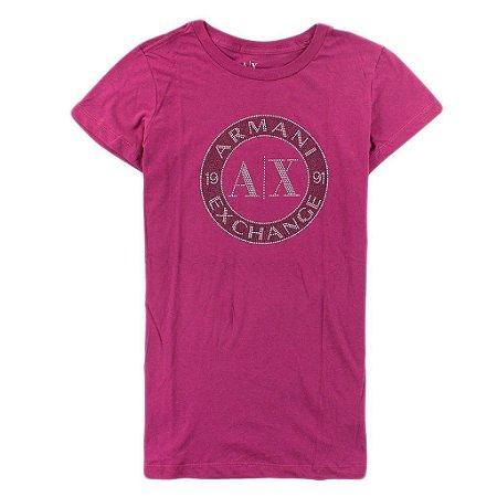 Camiseta Armani Exchange Feminina Shiny Circle Tee - Purple