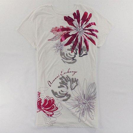 Camiseta Armani Exchange Feminina Shiny Flowers Crew Neck Tee - White