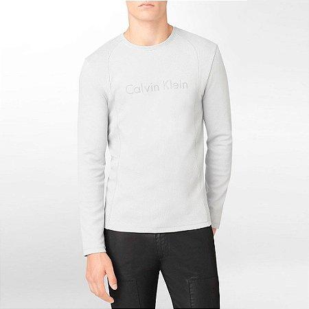 Manga Longa Calvin Klein Masculina Long Sleeve Logo Tee - Grey