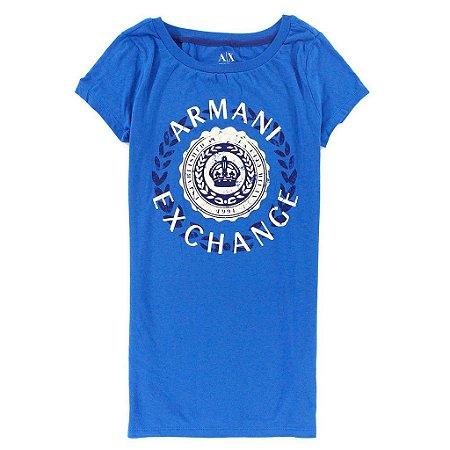 Camiseta Armani Exchange Feminina Sparkle Logo Tee - Blue