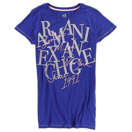 Camiseta Armani Exchange Feminina Travel World Tee - Dark Purple
