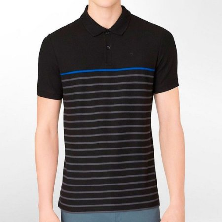 Polo Calvin Klein Masculina Multicolor Striped Polo - Black