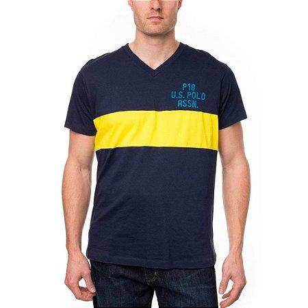 Camiseta U.S. Polo Assn. Masculina Bar Stripe V Neck - Navy